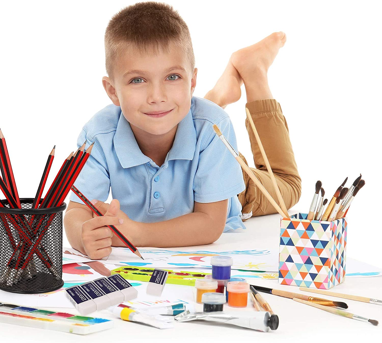 sketches offices Xinzistar 20 pieces White Plastic Rubbers Erasers with 12 Pencils paintings and fine arts for universal use in schools