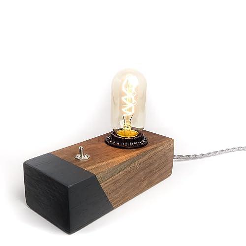 Marvelous Black Walnut Desktop Edison Lamp / Grey Contrast
