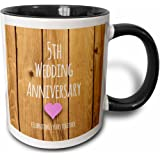 3dRose mug_154433_4 5Th Wedding Anniversary Gift Wood Celebrating 5 Years Together Fifth Anniversaries Two Tone Black Mug, 11 oz, Black/White