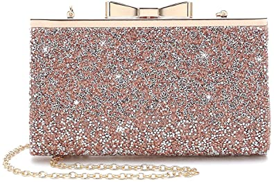 6d16a5934bb Yuenjoy Womens Rhinestone Clutch Purse Evening Bags with Bow Closure  (Champagne)