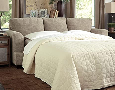 Amazon Com Ashley Barrish Queen Faux Leather Sleeper Sofa In Sisal