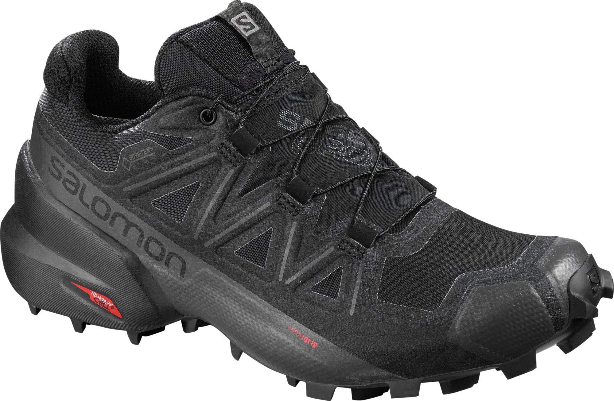 Salomon Women's Speedcross 5 GTX Trail Running Shoes, Black/Black/PHANTOM, 5 by SALOMON