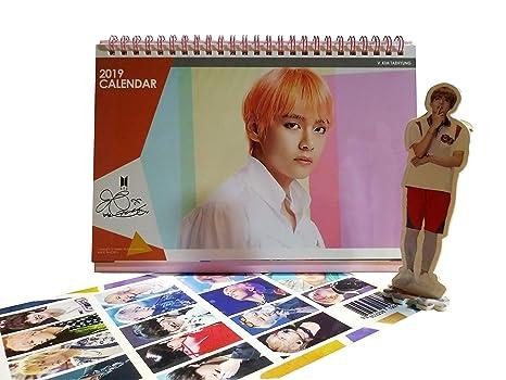 BTS V Desk Calendar 2019 2020 with V Mini Standing Figure + Special 2-Sided Photocard (V)