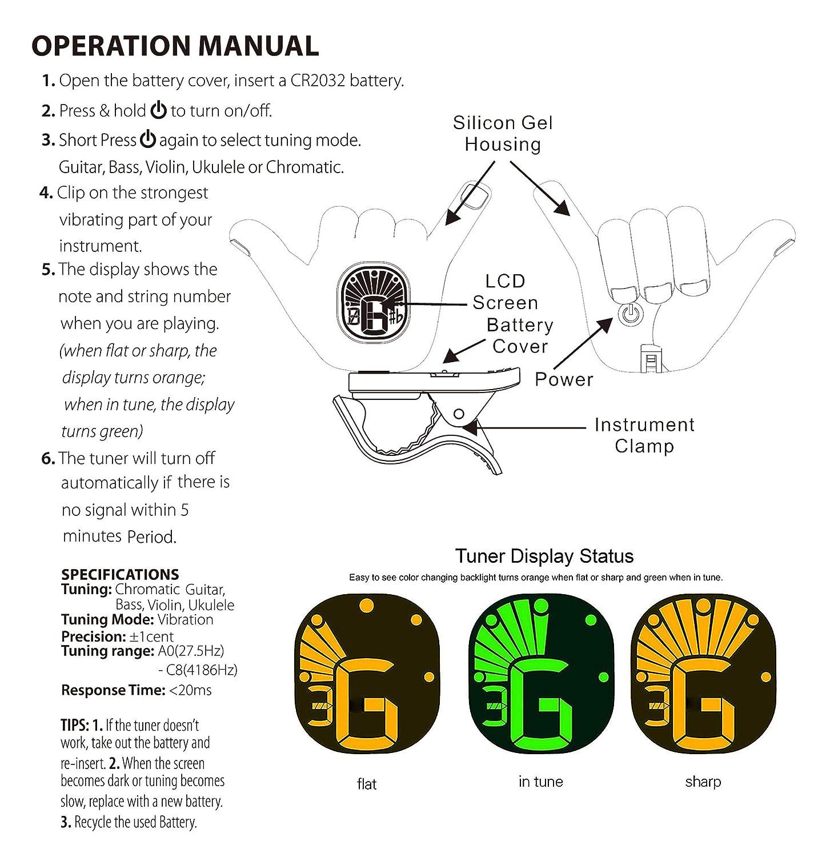 Amazon Hang Loose Shaka Hand Gesture Chromatic Clip On Tuner