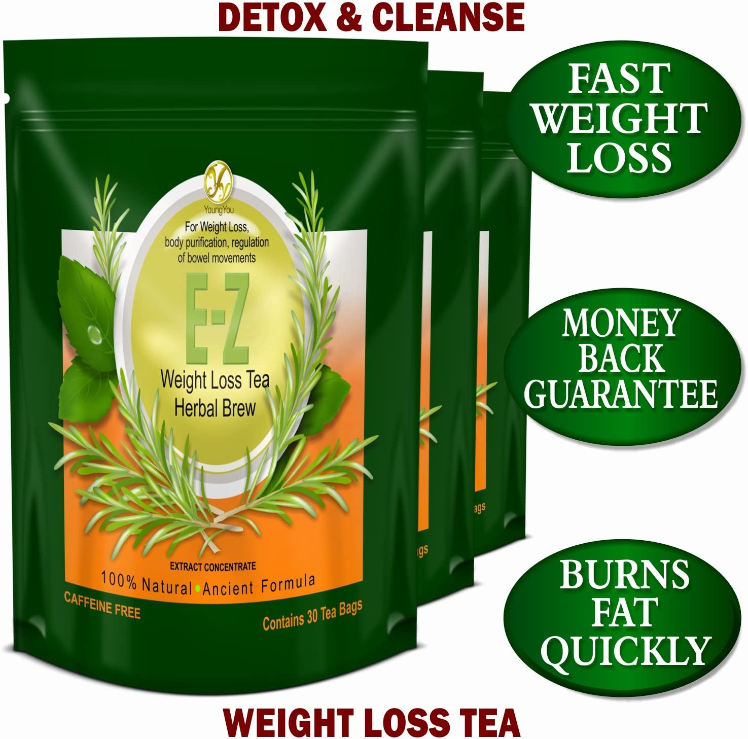 Detox Tea for Weight Loss and Belly Fat – Appetite Control – Body Cleanse Detox 3 Pack