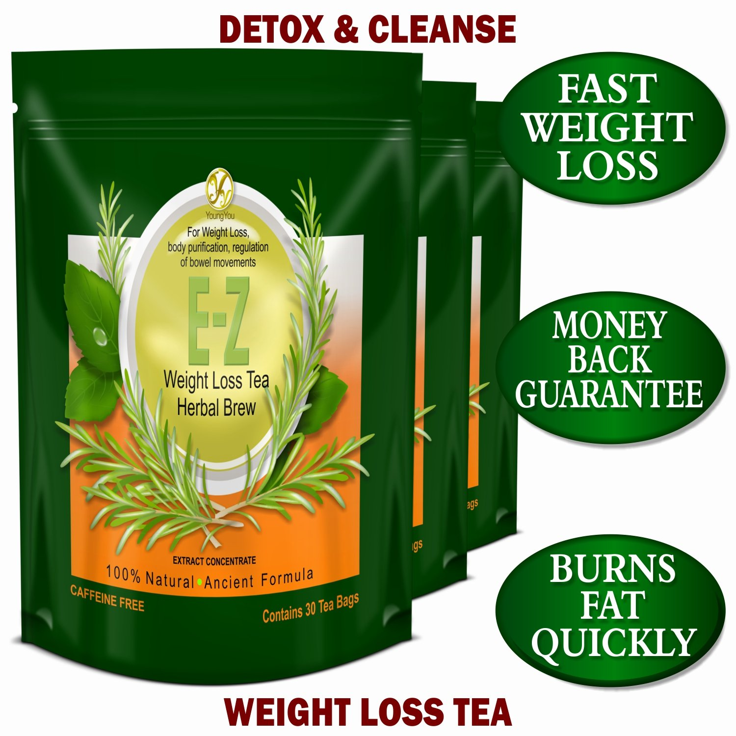 EZ WEIGHT LOSS DETOX TEA - BELLY FAT - APPETITE CONTROL - BODY CLEANSE –  COLON