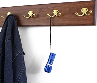 """product image for PegandRail Cherry Coat Rack with Solid Brass Double Style Hooks 4.5"""" Ultra Wide (Mahogany, 41"""" x 4.5 with 8 Hooks)"""