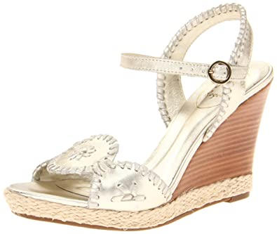 Jack Rogers Women's Clare Wedge Pump,Platinum,5 ...