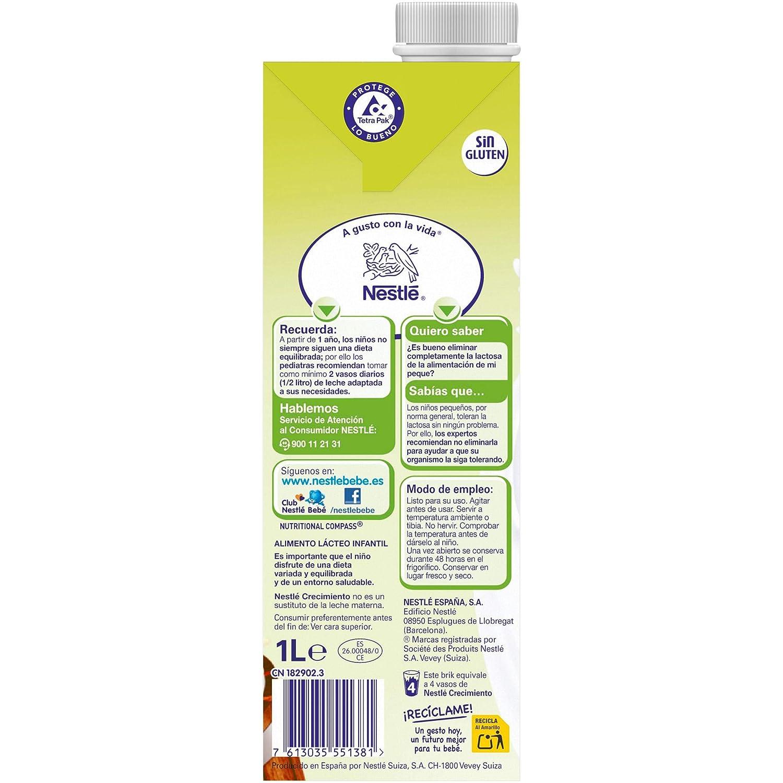 NESTLÉ JUNIOR 1+ Bajo en lactosa - Leche para niños a partir de 1 año - 4x1L: Amazon.es: Alimentación y bebidas