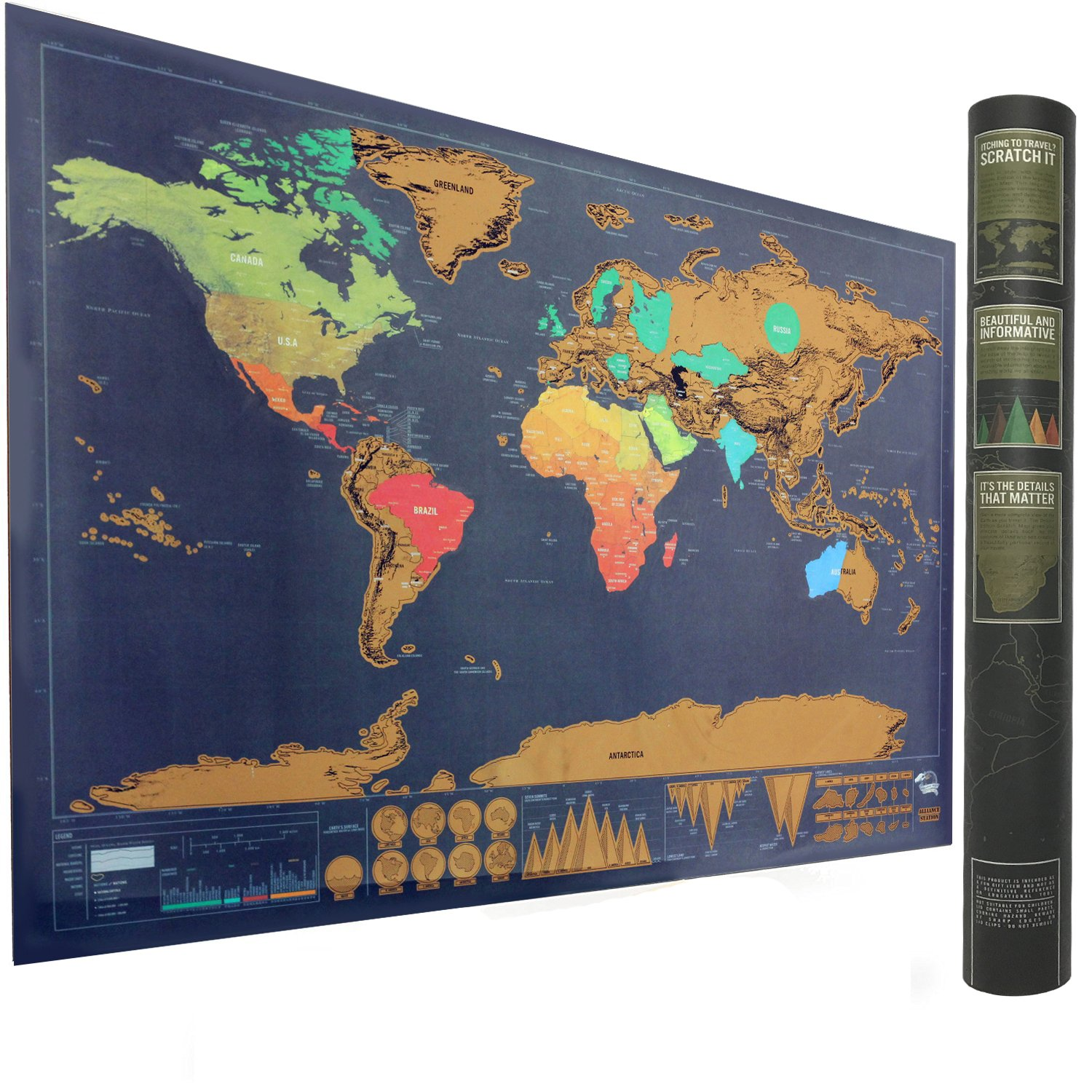 Amazon mymap colorfull large world scratch off map 35 x 25 scratch off world map poster perfect gift for travelers travel tracker map print gumiabroncs Image collections