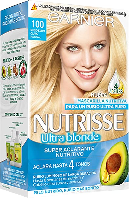 Garnier Nutrisse Creme Coloración Nutritiva Permanente, Tinte 100% Cobertura de Canas con Mascarilla Nutritiva de 4 Aceites - Tono 100 Rubio Extra ...