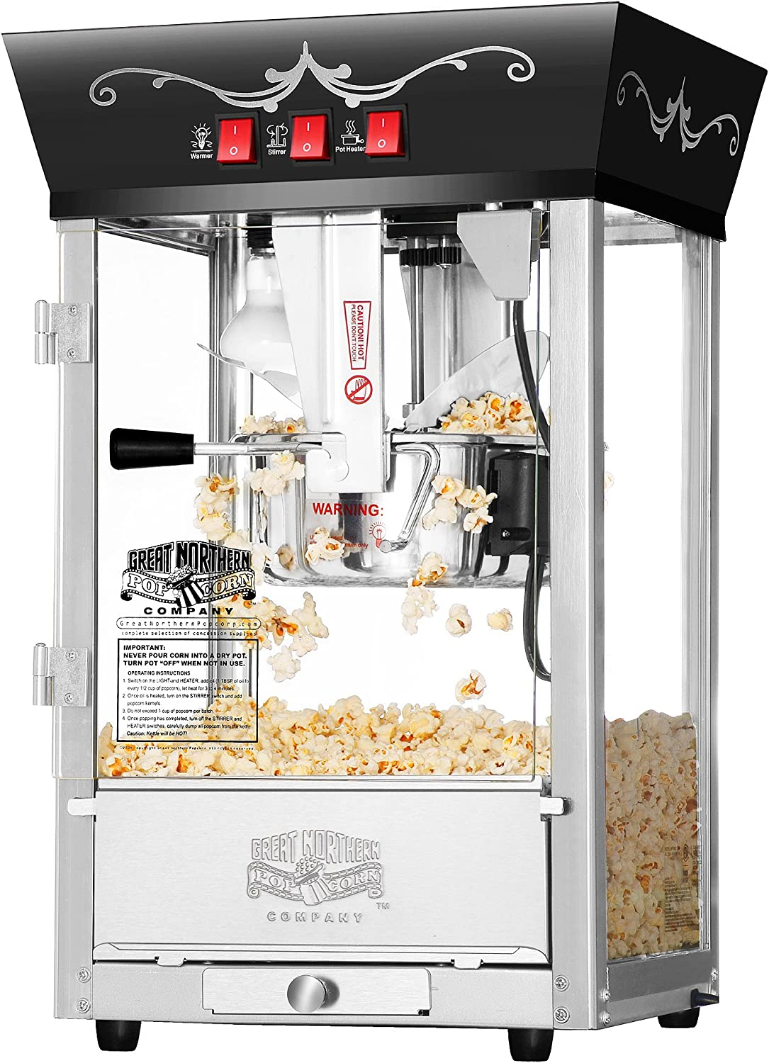 6092 Great Northern Popcorn Black Antique Style Popcorn Popper Machine, 8 Ounce