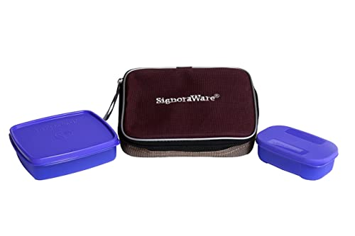 Signoraware Twin Smart Plastic Lunch Box with Bag, Violet