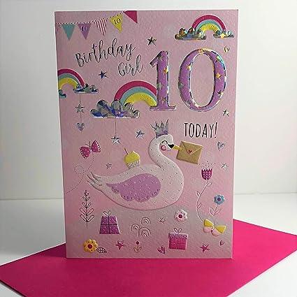 ICG Tarjeta de cumpleaños para niña de 10 años - Cisne y ...