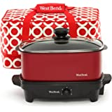 West Bend 84915R Versatility Slow Cooker with Insulated Tote and Transport Lid, 5-Quart, Red