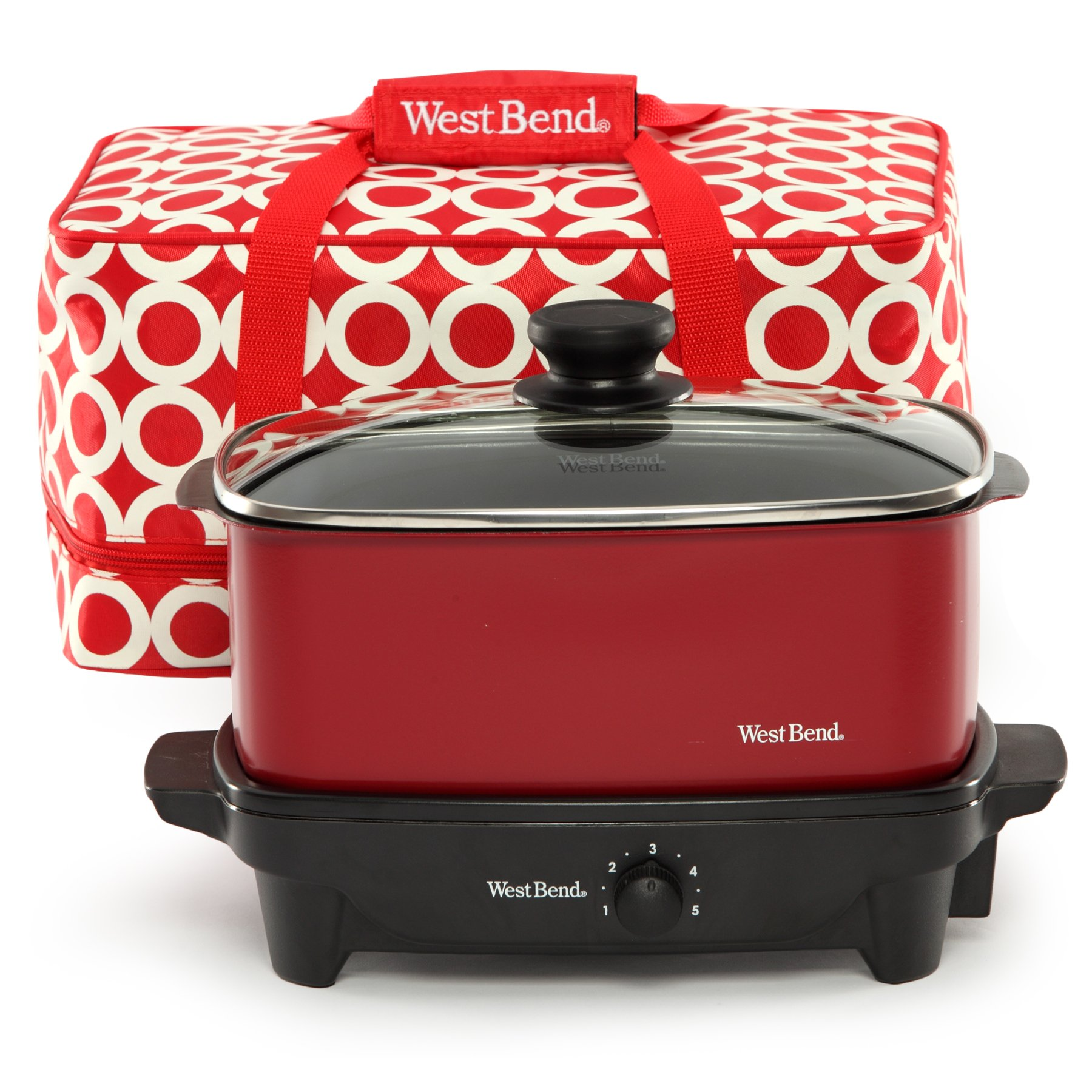 West Bend 84915R Versatility Slow Cooker with Insulated Tote and Transport Lid, 5-Quart, Red (Discontinued by Manufacturer)