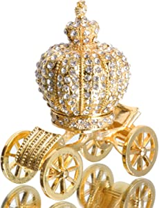 Waltz&F Golden Diamond Pumpkin Carriage Metal Ring Jewelry Holder Hinged Trinket Box Table Centerpiece Decor