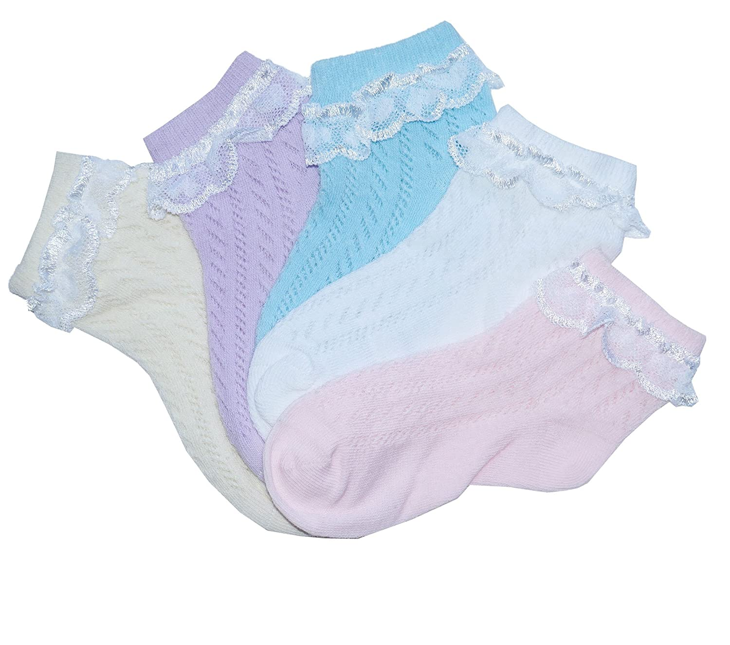 Baby girls ankle socks with flat toe seam for sensitive feet