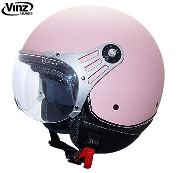 Vinz - Moderno casco tipo jet para motocicleta en rosa, tallas XS-XL |