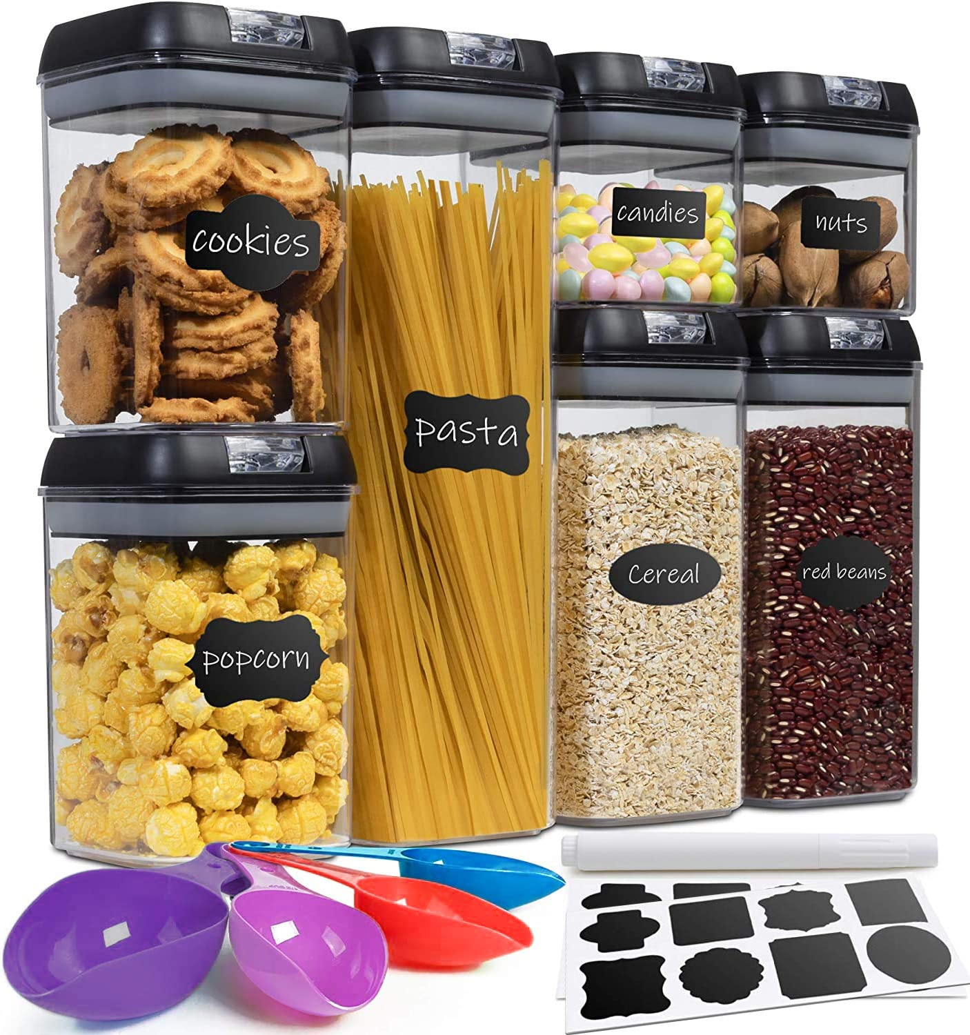 Fiyton Airtight Food Storage Container Sets-Kitchen Pantry & Counter-top Organizer -7 PC -20 Labels+Marker & Measuring Cups-BPA Free-Heavy Duty Clr Plastic CNTR. for Flour-Cereal-Rice-w/Improved Lids