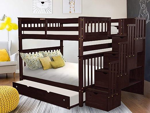Bedz King - Litera para Escalera con 4 cajones en los Pasos y un Doble Cama, Capuchino: Amazon.es: Juguetes y juegos