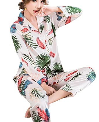 f1a7509495 SWOMOG Womens Silk Satin Pajamas Long Sleeve Loungewear Two-Piece Sleepwear  Button-Down Pj