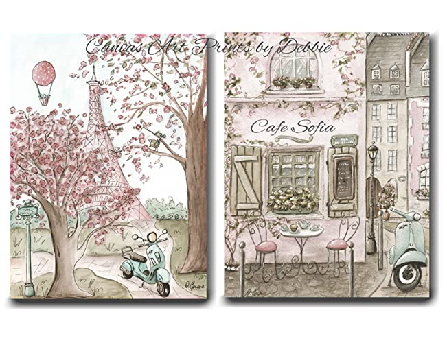 Personalized canvas wall art set of 2 vintage paris canvas prints for girls travel themed