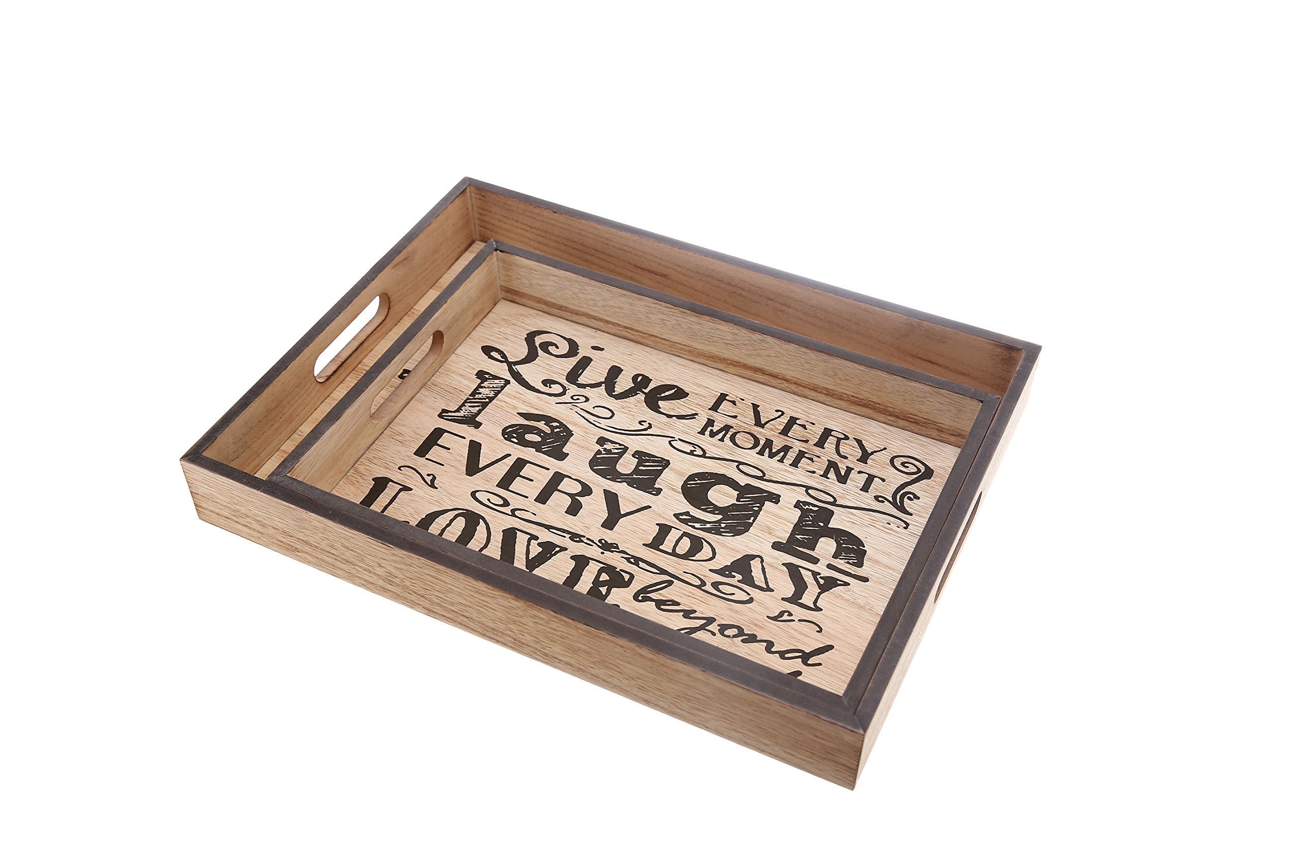 2 PIECES Wooden coffee trays with handles, modern printed trays for serving or decoration, Natural wood crafted trays with Live every moment, laugh every day, Love beyond words phrase
