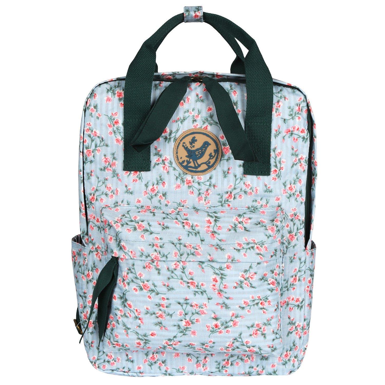 Micoop Waterproof Floral Backpack Handbag Travel School Bag for Girls and Women (Light Green Pink Floral L) by Micoop (Image #1)