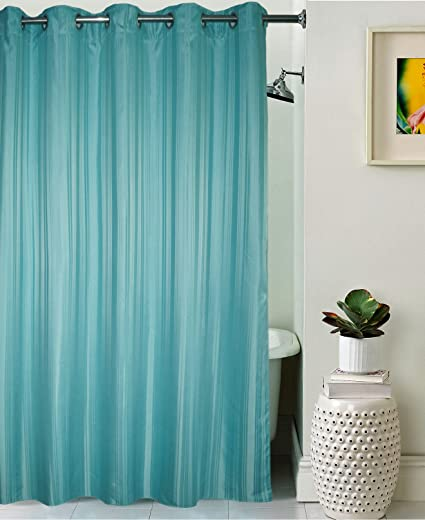 Lushomes Unidyed Dark Green Polyester Shower Curtain with 10 Eyelets, 70x82-inch (Single pc)