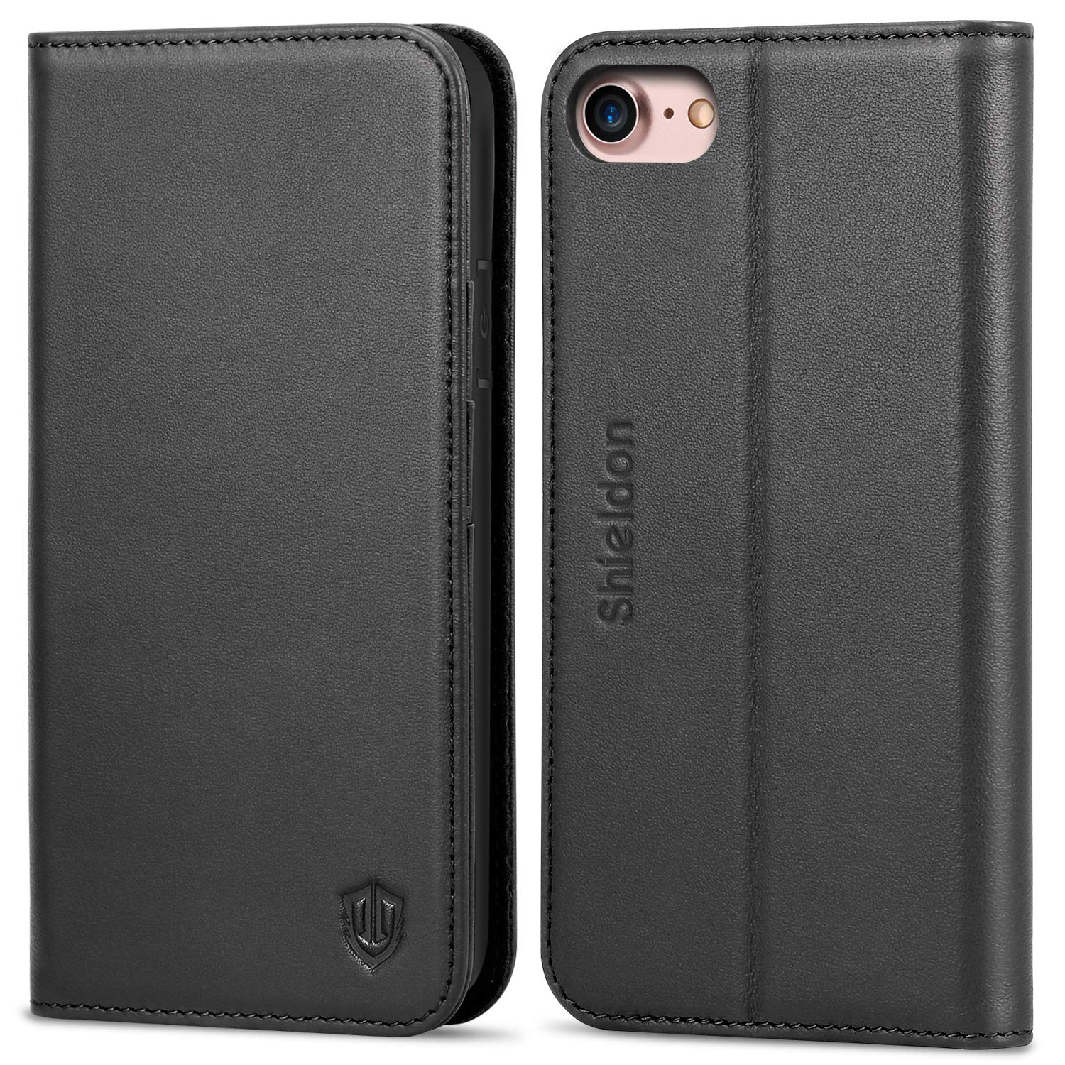 SHIELDON iPhone 8 Case, iPhone 7 Case, iPhone 7 Wallet Case Genuine Leather Premium [Card Holder] [Book Design] Magnetic Closure Stand Flip Cover Case Compatible with iPhone 8 / iPhone 7 - Black by SHIELDON
