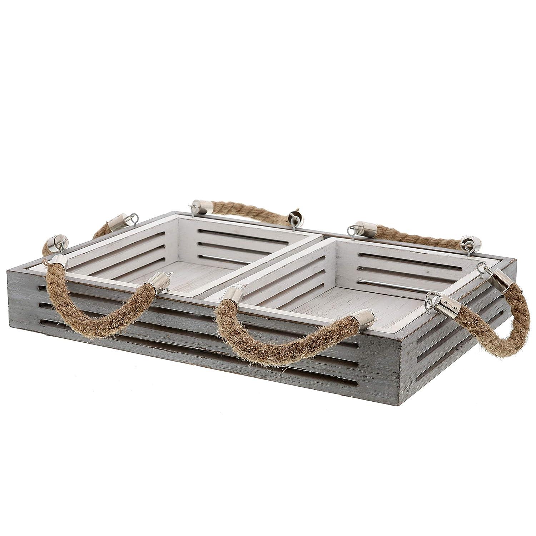 Barnyard Designs Nesting Serving Trays Rope Handles Rustic Coastal Nautical Decorative Wood Trays Coffee Table, Kitchen, Set of 3