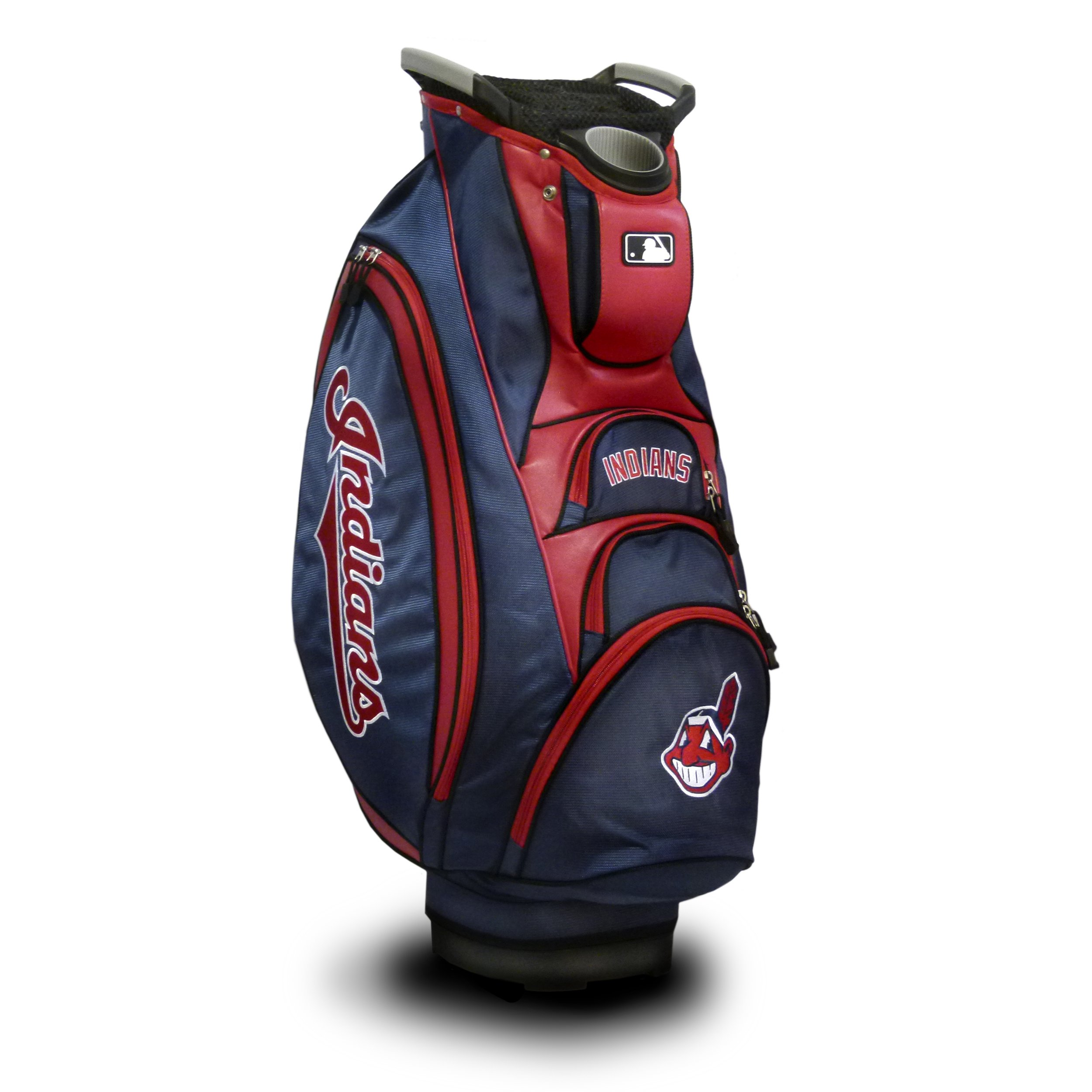 Team Golf MLB Cleveland Indians Victory Golf Cart Bag, 10-Way Top with Integrated Dual Handle & External Putter Well, Cooler Pocket, Padded Strap, Umbrella Holder & Removable Rain Hood