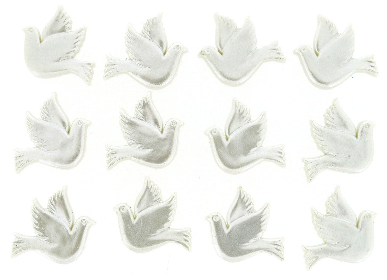Dress it Up, Decorazione pensile colombe, serie Button in plastica, colore: bianco, 20 x 20 mm, confezione da 12 pezzi Dress it Up Jesse James Inc 4206