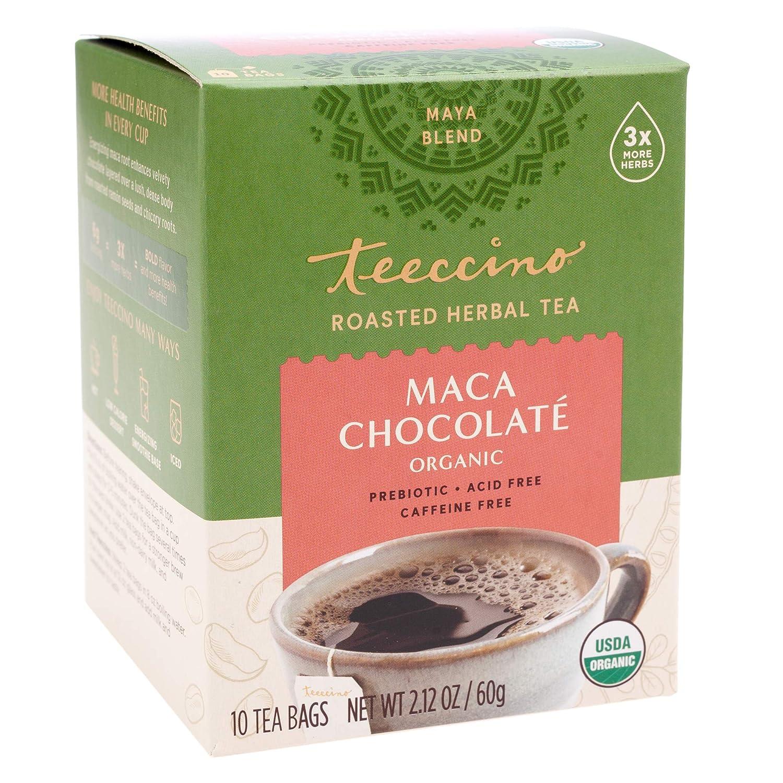 Teeccino Herbal Tea – Organic Maca Chocolaté – Adaptogenic Peruvian Maca | Cacao | Chicory | Prebiotic | Caffeine Free | Acid Free | Coffee Alternative, 10 Tea Bags