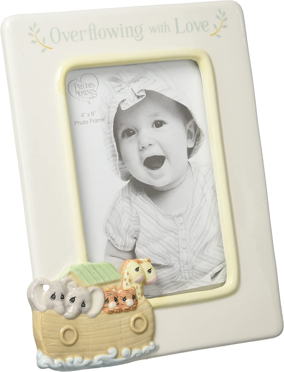Precious Moments Overflowing with Love Noah's Ark Ceramic 4x6 Nursery Décor Photo Frame 173431