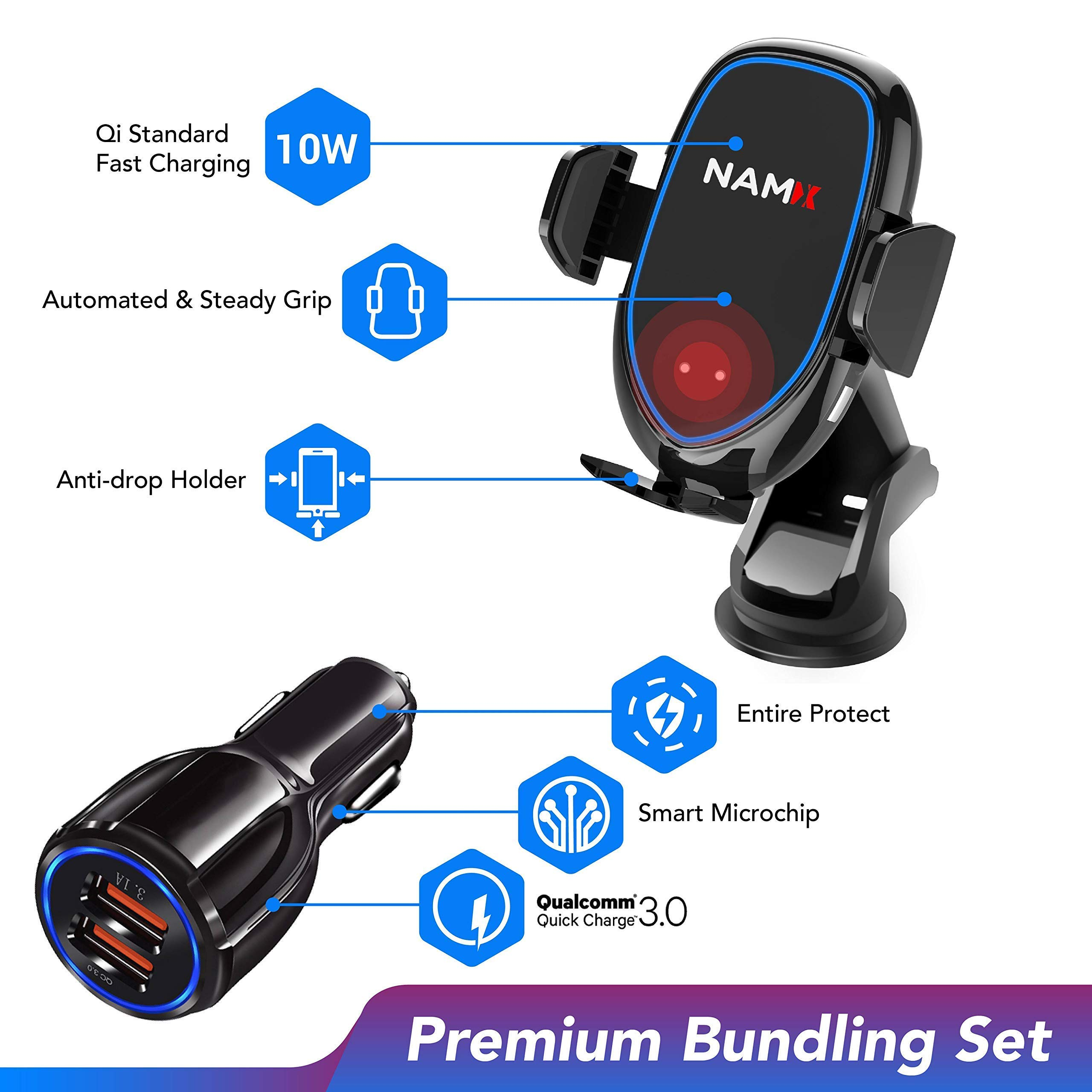 NAM-X 10W Auto Clamping Smart-Sensor Wireless Car Charger Bundling Set - Built-in Smart Fan - Included Dashboard Mount & Air Vent Clip - Bundle QC 3.0 - Compatible for All Qi-Enabled Phone