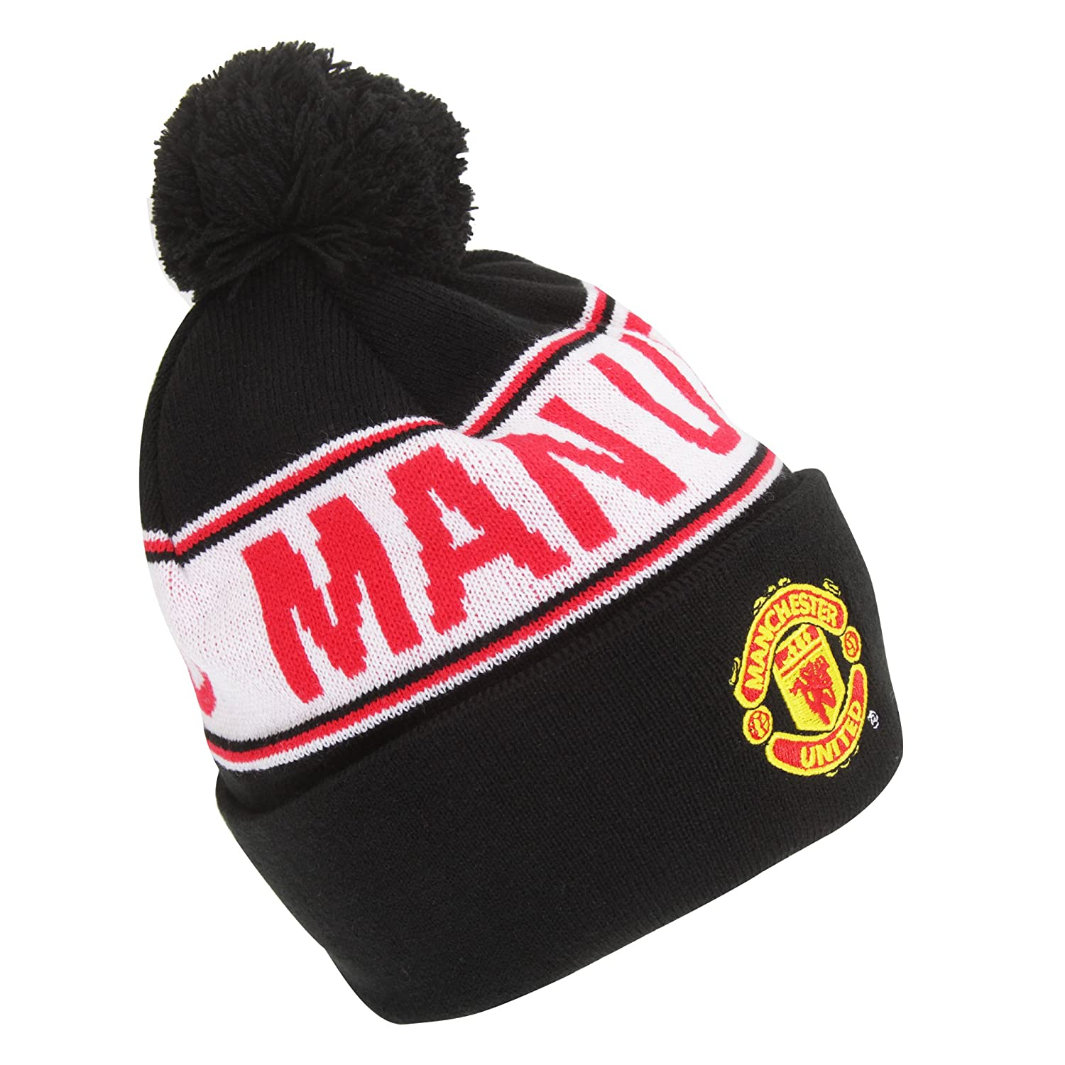 Manchester United Knitted Bronx Bobble Hat With Man Utd Design Black