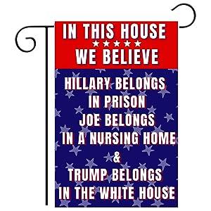 Anti Biden Outdoor Garden Flag | Joe Biden Nursing Home Funny 12x18 Double-Sided Flag Banner for Lawn and Garden | Pro Trump Republican Garden Flag