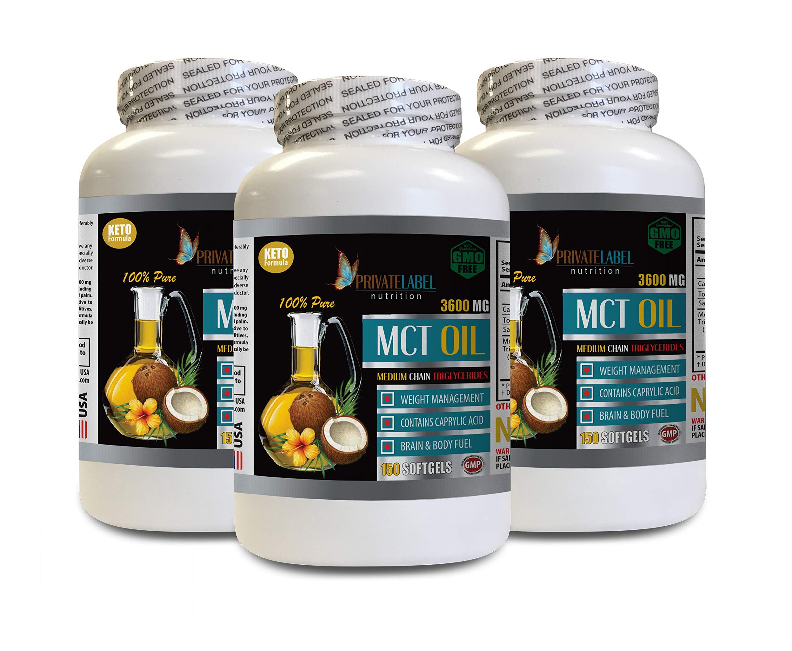 Immune System Vitamins - MCT Oil 3600MG - Medium Chain TRIGLYCERIDES - mct Oil lauric Acid - 3 Bottles 450 Softgels