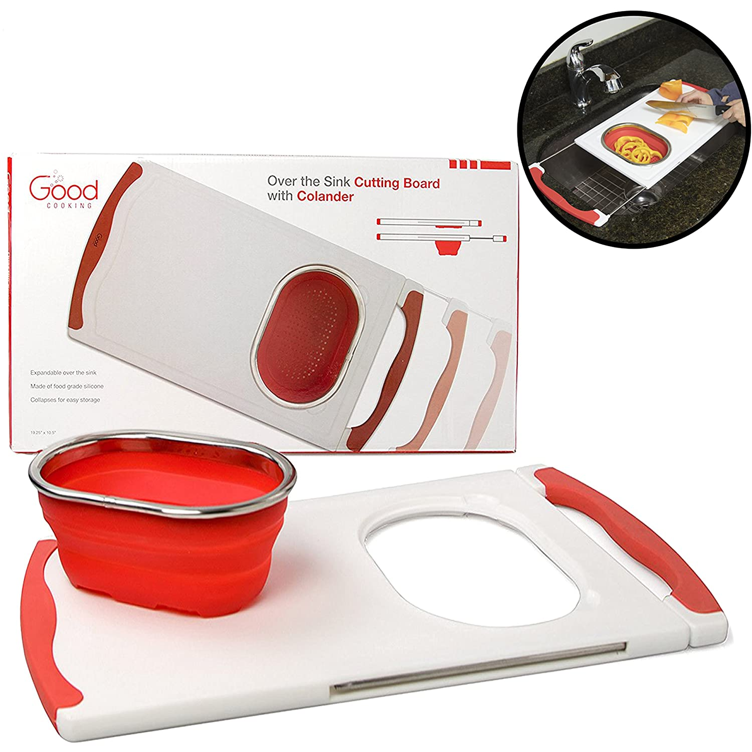 Amazon.com: Over The Sink Cutting Board With Collapsible Colander And Extra  Long Extension By Good Cooking: Kitchen U0026 Dining