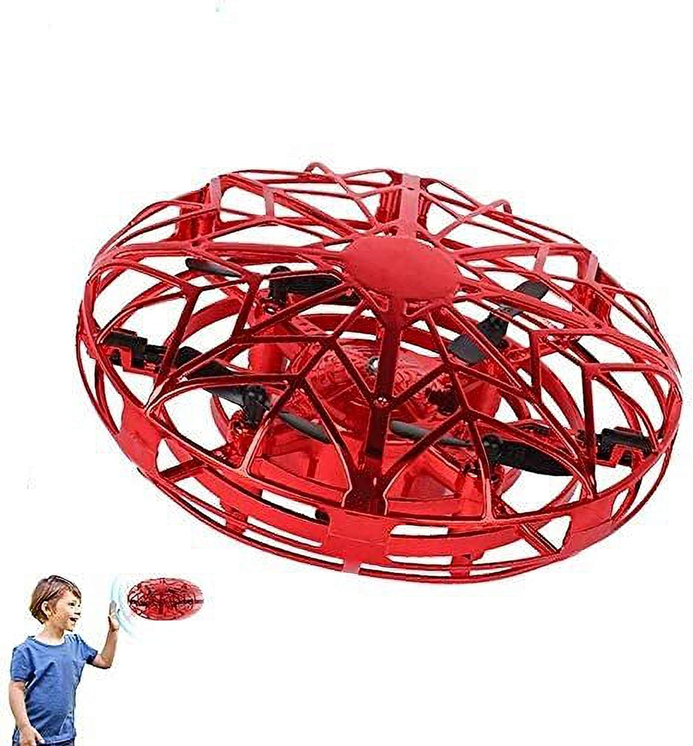 ZHC Children'S Mini Drone, Flying Toy, Hand-Controlled Flying Ball Intelligent Flying Toy with Led Lamp Beads, 3-Color Light-Emitting Interactive Toy, Rechargeable UFO Toy for Boys and Girls…