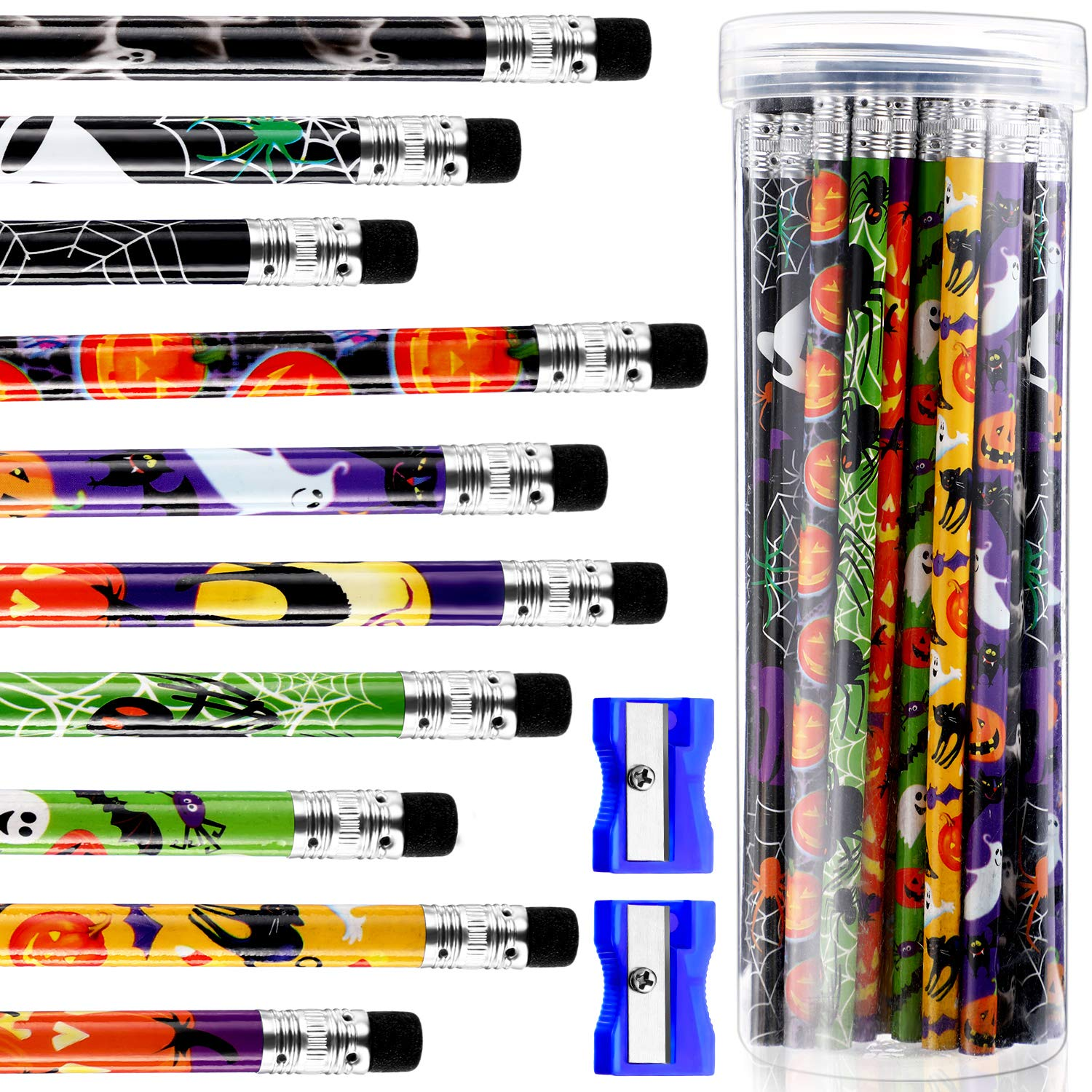 50 Pieces Halloween Pencils Assorted Colorful Pencils Wooden Pencils with Eraser, 2 Pieces Pencil Sharpeners and Plastic Bottle for Students Halloween Gift by Outus