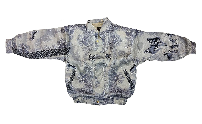 Chamarra de seda Kids Metalic Silk Jacket Color Gray Design Wolf