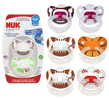 NUK Assorted Sports Pacifier, 0-6 months (Colors and Patterns May Vary), 8 Count