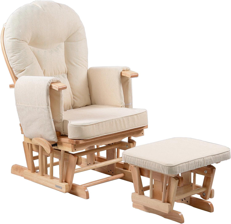 Silla mecedora de maternidad Sereno Nursing Glider con bloqueo de deslizamiento y escabel ... (Natural)
