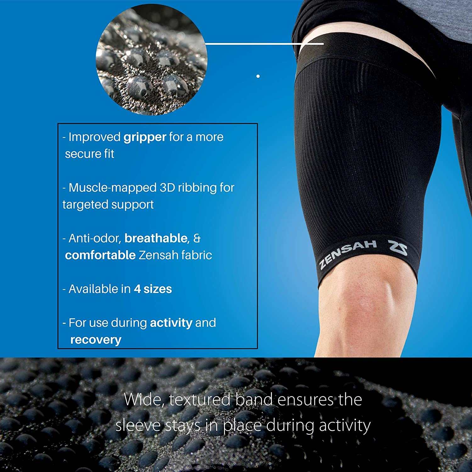 0b575f43fb Amazon.com: Zensah Thigh Compression Sleeve – Hamstring Support, Quad Compression  Sleeve for Men and Women - Thigh Sleeve Wrap, Great for Running, Sports, ...