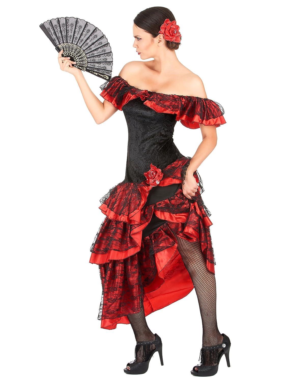 Disfraz de flamenca rojo y negro: Amazon.es: Juguetes y juegos