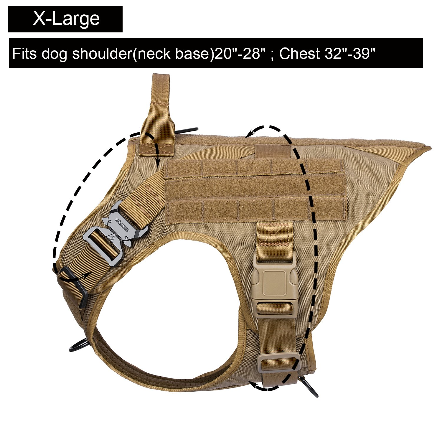 ICEFANG Dog Modular Harness,Military K9 Working Dog Tactical Molle Vest,No Pull Front Clip,Unbreakable Metal Quick Release Buckle Snap-Proof (XL (32''-39'' Girth), CB-Molle Half Body) by ICEFANG (Image #3)