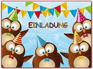 Kartenuniversum Eulen Kindergeburtstag Einladung Geburtstag Kinder
